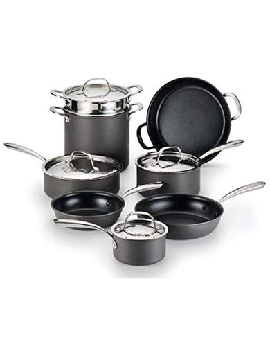 Lagostina Nera Hard Anodized Nonstick 12-Piece Cookware Set