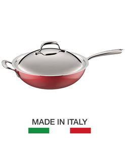 Lagostina Stainless Steel Rossella Collection 30cm Wok - Made in Italy, STUNNING RED COLOR