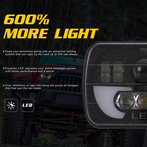 NINTE 5X7 Inches (7x6) 300W Square LED Trunk Headlights