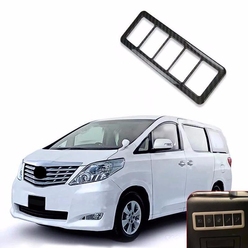 Toyota Alphard 2015-2018 Carbon Fiber Texture Headlight Switch Button Cover Trim Frame - NINTE