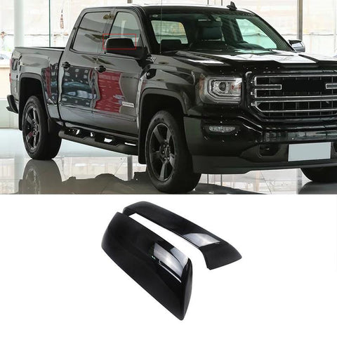 NINTE  Rearview Mirror Replacement Covers Gloss Black ABS Compatible with 2014-2018 GMC Sierra 1500&Chevrolet Silverado 1500 Mirror Caps - NINTE