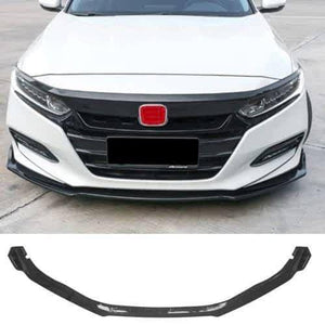 NINTE For 2018 19 2020 Honda Accord Front Bumper Chin Lip Spoiler Wing Carbon Fiber Pattern 3 Pieces - NINTE