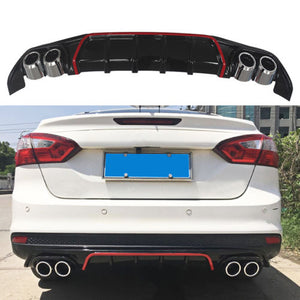 NINTE Rear Bumper Lip For 2013-2018 Ford Focus S/SE/SEL/Titanium Model Gloss Black PP - NINTE