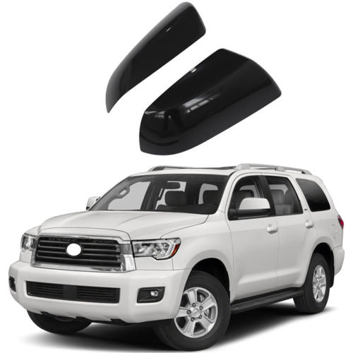 For 2007-2018 TOYOTA TUNDRA SEQUOIA Top Half Mirror Cover Non Towing GLOSS BLACK - NINTE