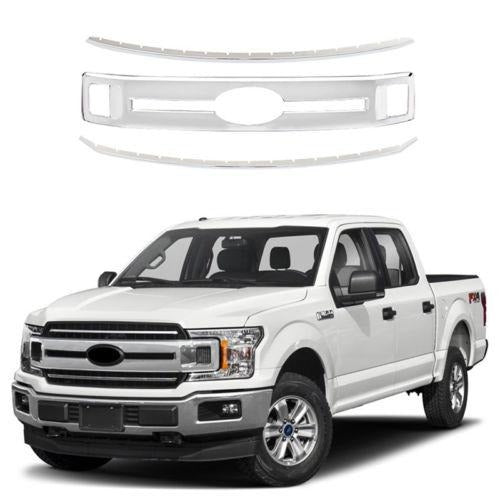 NINTE Front Grills for 2018 2019 Ford F150 XL/XLT/LARIA Snap On Chrome  Grille Overlays 3PCS
