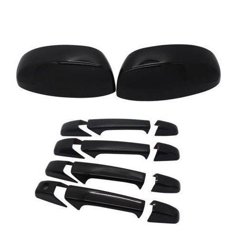 NINTE For 2007-2013 Chevy Silverado GMC Sierra Mirror Cover+4 Door Handle Covers black - NINTE