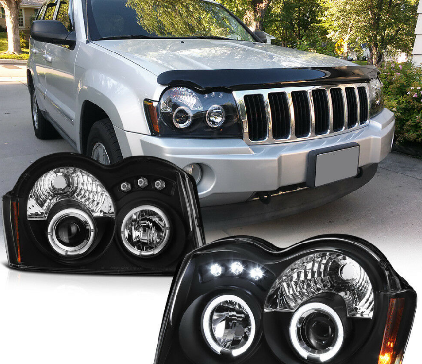 For 05-07 Jeep Grand Cherokee WK Black LED Halo Projector Headlight Signal Lamp - NINTE