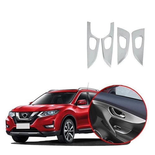 Car Styling Cover Inside Door Inner Handle Bowl Frame Lamp Trim Molding For Nissan Rogue X-trail 2017-2019 NINTE - NINTE