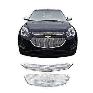 NINTE CHROME Front Center&Upper Grille Set Cover 2 Bar For 2016 2017 Chevy Equinox - NINTE