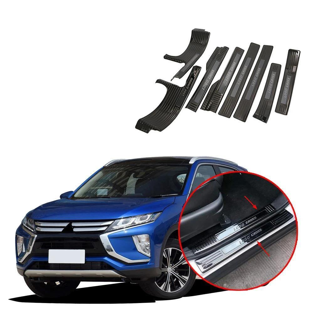 Fit Mitsubishi Outlander stainless rear door plate bumper cover door sill trim