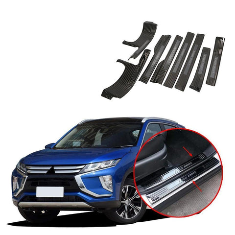 Carbon Fiber Side Door Sill Guards Plate Trim For Mitsubishi Eclipse Cross 2018