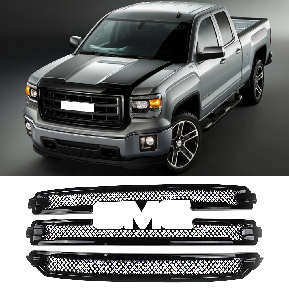 NINTE GMC Sierra 1500 SLT 2016-2018 Chrome Grille Overlay 3 Bars Grille Covers - NINTE