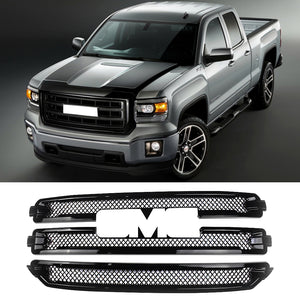 For 2016 2017 2018 GMC Sierra 1500 SLT CHROME Grille Overlay 3 Bars Grill Covers - NINTE