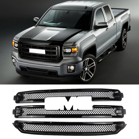 NINTE For 2016-2018 GMC Sierra 1500 SLT CHROME Grille Overlay 3 Bars Grill Covers - NINTE