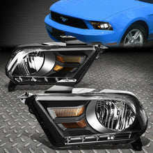 Load image into Gallery viewer, NINTE 10-14 Ford Mustang Black Housing Amber Corner Headlight Replacement Lamps