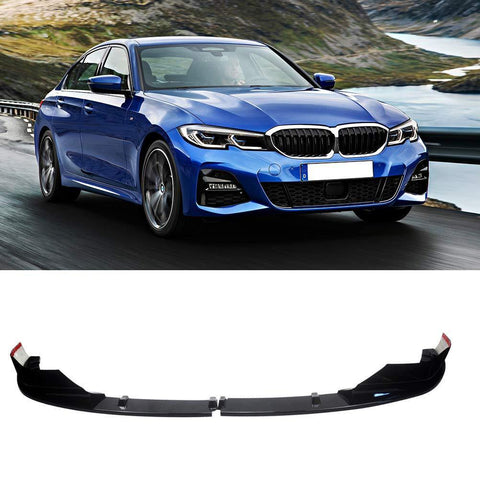 NINTE Front Lip for 2019-2020 BMW G20 3 Series M Sport, ABS Painted Gloss Black Alpina Style Front Bumper Spoiler - 2pcs - NINTE