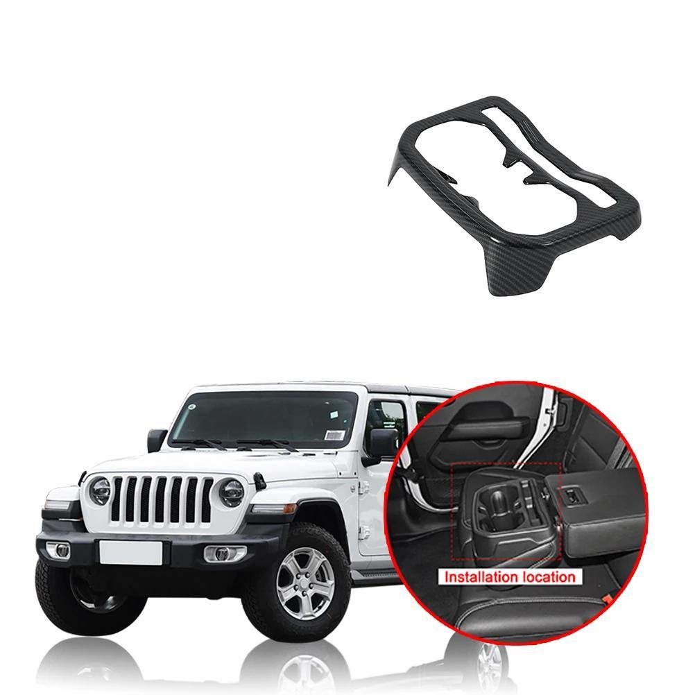 NINTE Car Interior Rear Seat Water Cup Holder Cover Decoration Stickers For Jeep Wrangler JL 2018 2019 - NINTE