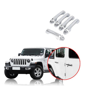 10X Chrome Door Handle Cover Trunk Handle Protector For Jeep Wrangler 2018 2019