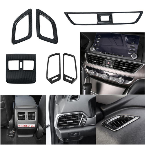 NINTE Interior Front Rear Console Dashboard Left and Right A/C Air Outlet Vent Frame Trim Cover For Honda Accord 2018 2019 10th - NINTE
