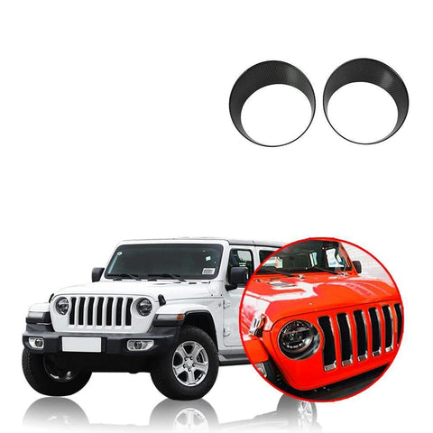 NINTE Car Headlight Circle Decoration Cover For JEEP Wrangler JL 2018 2019 - NINTE
