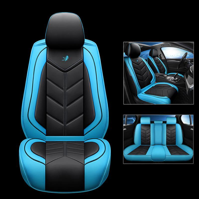 NINTE Universal PU Leather Seat Cover Full Set 5D 5-Seats Car Protector Cushion - NINTE