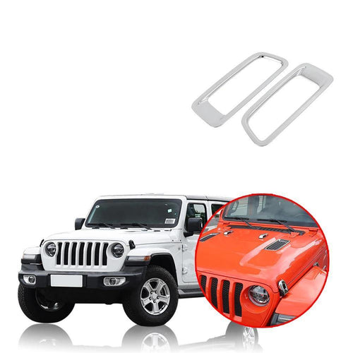 Car Styling Bright Style Front Engine Hood Air Conditioning  Outlet Cover Trim for  Jeep Wrangler JL 2018 2019 NINTE - NINTE