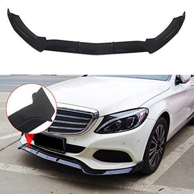 NINTE Front Bumper Lip for 2015-2018 W205 Benz C-Class Base Model - Painted Gloss Black PP Front Sport Spoiler - 3pcs - NINTE