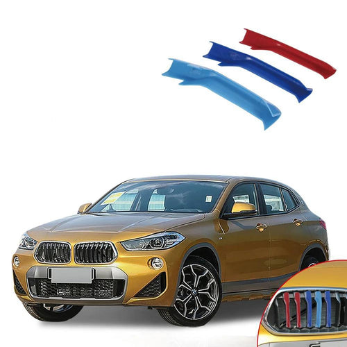NINTE Accessories Car Front Grill Stripes Covers Grid Stripes Clip Motorsport Decoration Stickers Styling For BMW X2 2018 - NINTE