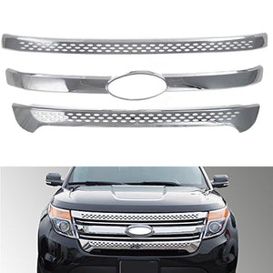 Grill Covers For 2011 2012 2013 2014 2015 Ford Explorer Chrome Grille Overlay - NINTE