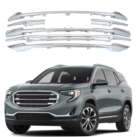 NINTE For 2018 2019 GMC Terrain Front Grille Snap On Cover Overlay 6 Pcs CHROME Grille - NINTE