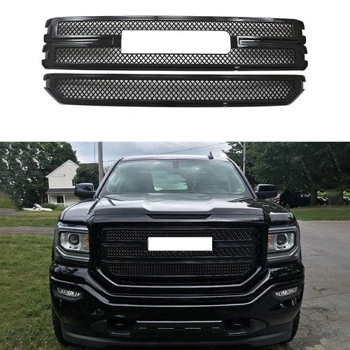 Front Grille For 2016 17 2018 GMC Sierra 1500 SLE&Base Overlay Grill Gloss Black - NINTE