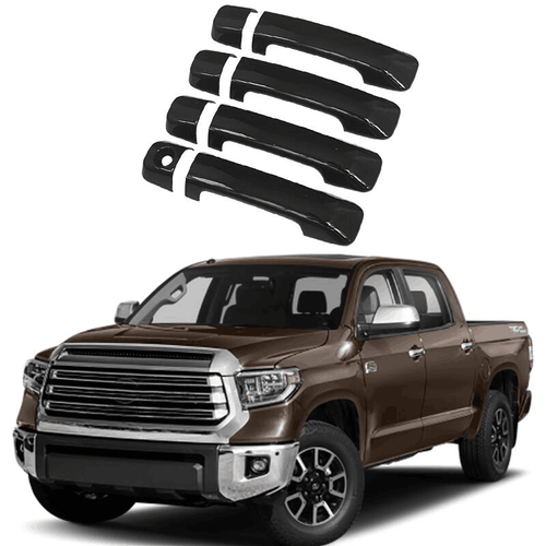 NINTE 4 Door Handle Covers For 2007-2019 TOYOTA Tundra CrewMax Sequoia W/O PK Hole Gloss Black - NINTE