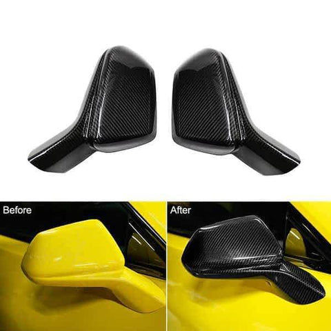 NINTE Mirror Covers For 2016-2018 CHEVY CAMARO LT SS RS ZL1 Carbon Fiber Style Overlay - NINTE
