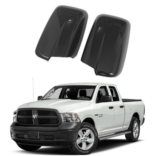 NINTE Gloss BLACK Rearview Mirror Cover For 2009-2018 DODGE RAM 1500 - Non-Towing With 0 Signal Hole - NINTE
