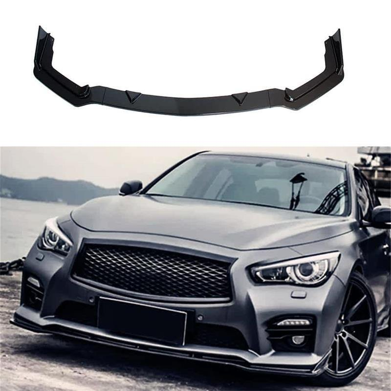 NINTE For 2014-2017 Infiniti Q50 Sport Model ABS 3 PCS Front Bumper Lip Long Spoiler Splitter - NINTE