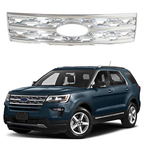 NINTE Front Grille Cover For 2018-2019 Ford Explorer Snap On Hood Grills Gloss Black - NINTE