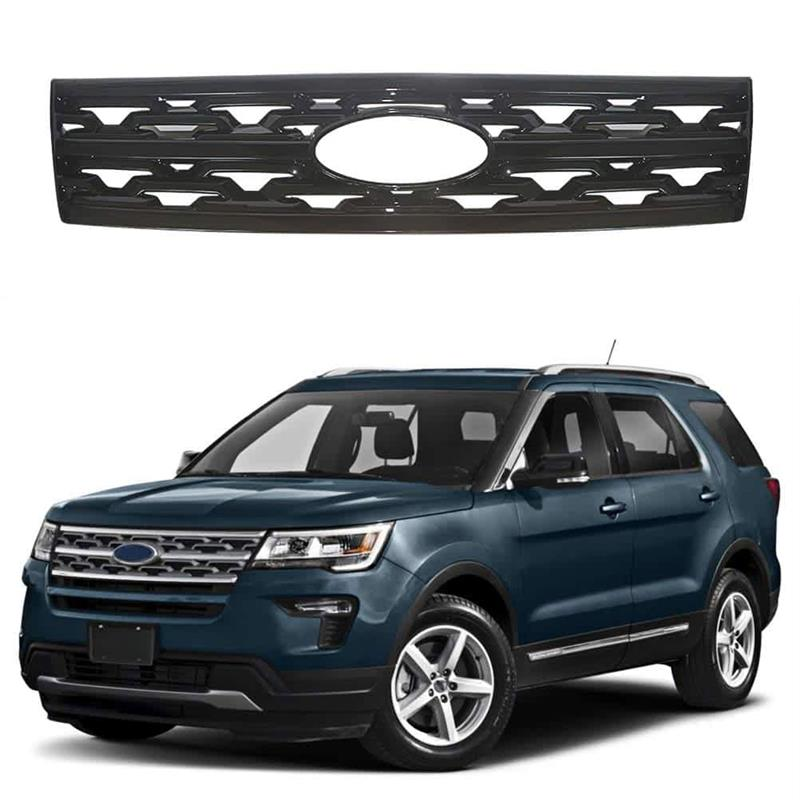 Ninte Ford Explorer 2018-2019 Gloss Black Snap On Hood Front Grille Cover - NINTE