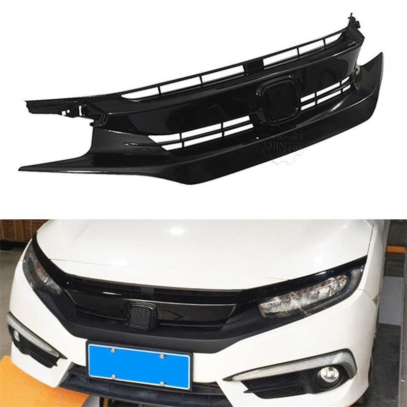 Ninte Honda Civic 10th 2016-2018 Gloss Black ABS Triple Front Mesh Grille & Light Brows - NINTE