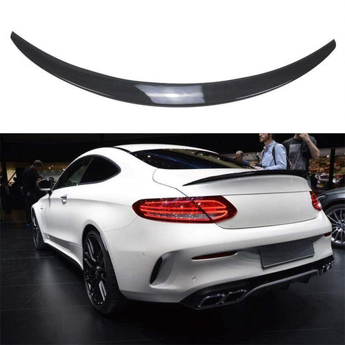 NINTE Trunk Spoiler Painted ABS Carbon Fiber Coating Wing For Mercedes Benz W205 C Class C180 C200 C250 C300 C63 C43 2 Door Coupe 2015-2019 - NINTE