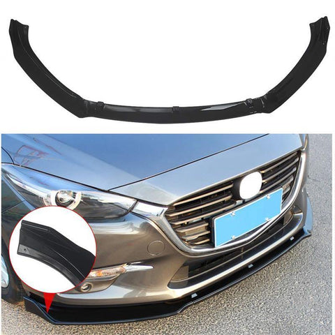 NINTE Front Lip for 2017-2018 Mazda 3 Axela - Painted Gloss Black Front Bumper Spoiler 3pcs - NINTE