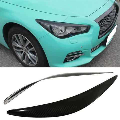 NINTE Front Headlight Lips Brow Eyebrows For 2014-2018 Infiniti Q50 Q50S All Models ABS Carbon Fiber - NINTE