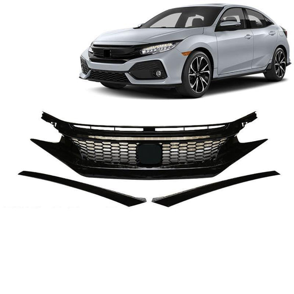 NINTE Triple Gloss Black Type R Style ABS Front Mesh Grille & Eye Brows For 2016-2019 10TH Honda Civic - NINTE