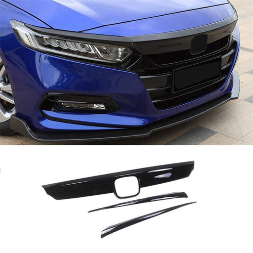 NINTE ABS Gloss Black Front Bumper Hood Grille Cover W/Eyelid Molding Trim For Honda Accord 2018-2019 - NINTE