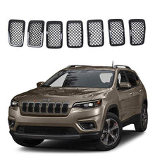Load image into Gallery viewer, Ninte Jeep Cherokee 2019-2020 7 PCS ABS Front Mesh Grill Cover-Painted Gloss Black Grille - NINTE