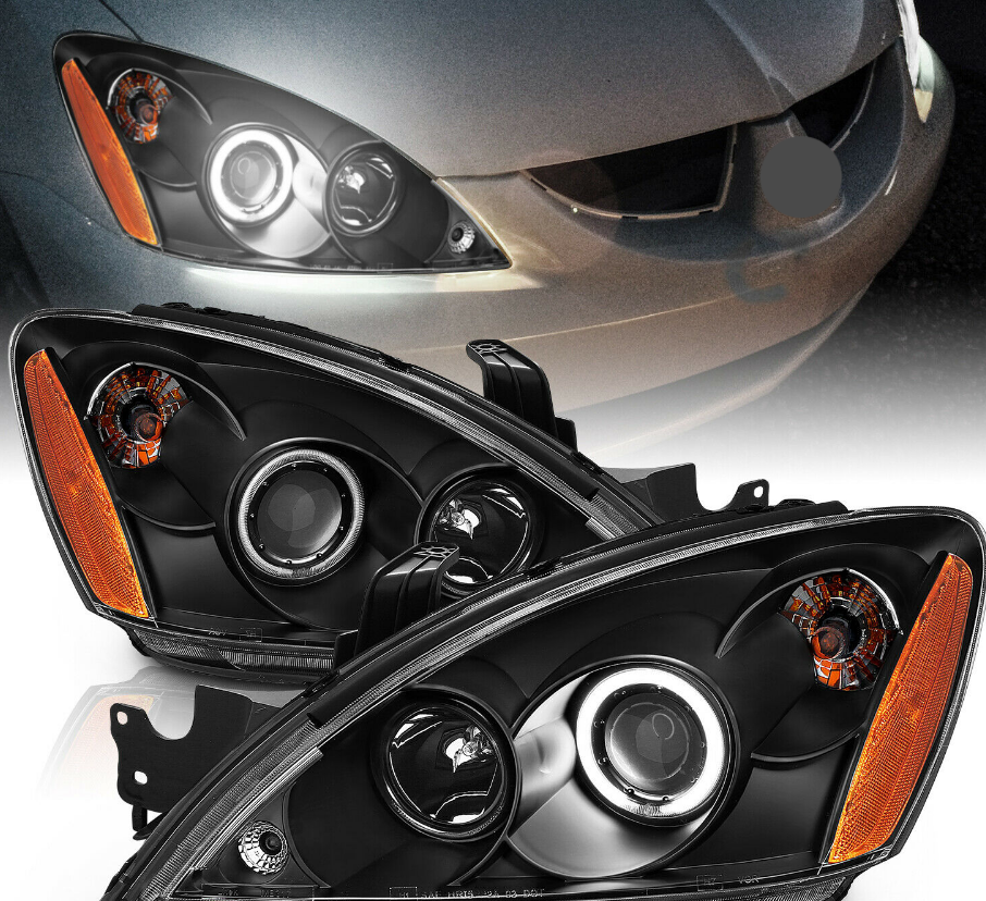[CCFL Halo] 2004-2007 Mitsubishi Lancer Black Projector Headlights Pair - NINTE