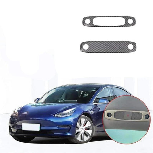 NINTE Car Styling Front + Rear Seat Upper Roof Reading Lights Lamp Cover Trim For Tesla Model 3 2017-2019