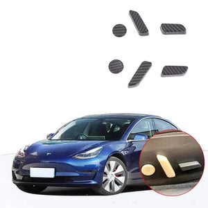 NINTE Carbon Fiber Seat Button Exterior Cover Trims Accessories For Tesla Model 3 2017-2019 - NINTE