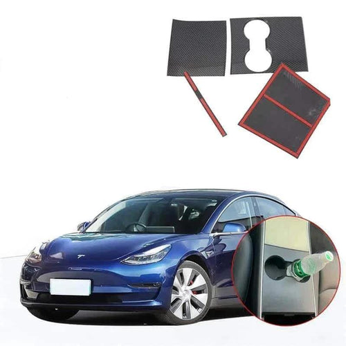NINTE Real Carbon Fiber Front Water Cup Holder Panel Cover For Tesla Model 3 2017-2019