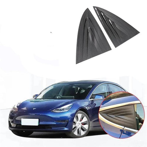 NINTE Car Styling Rear Window Triangle Shutters Cover Trim 2pcs For Tesla Model 3 2017-2019