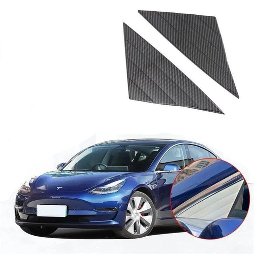 NINTE Carbon Fiber Style ABS Car Accessories Front Window Triangle Cover Trim 2PCS For Tesla Model 3 2017-2019